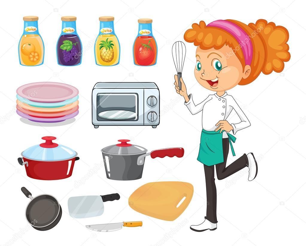 Chef e utens lios de cozinha vetor de stock for Utensilios para chef