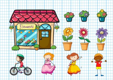 Flower shop and potted plants