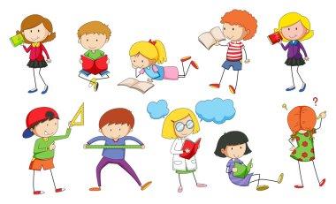 Set of children studying illustration clip art vector