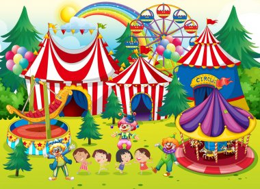 Children having fun at the circus