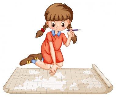 Girl plotting on map