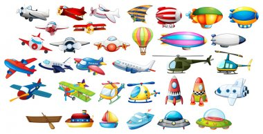 Airplane toys and balloons illustration stock vector