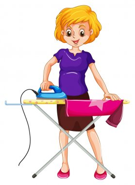 Woman ironing clothes on the ironing board