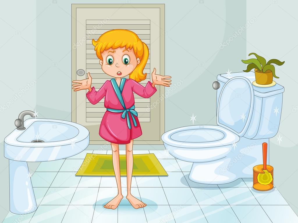 Girl Standing In Clean Bathroom Stock Vector