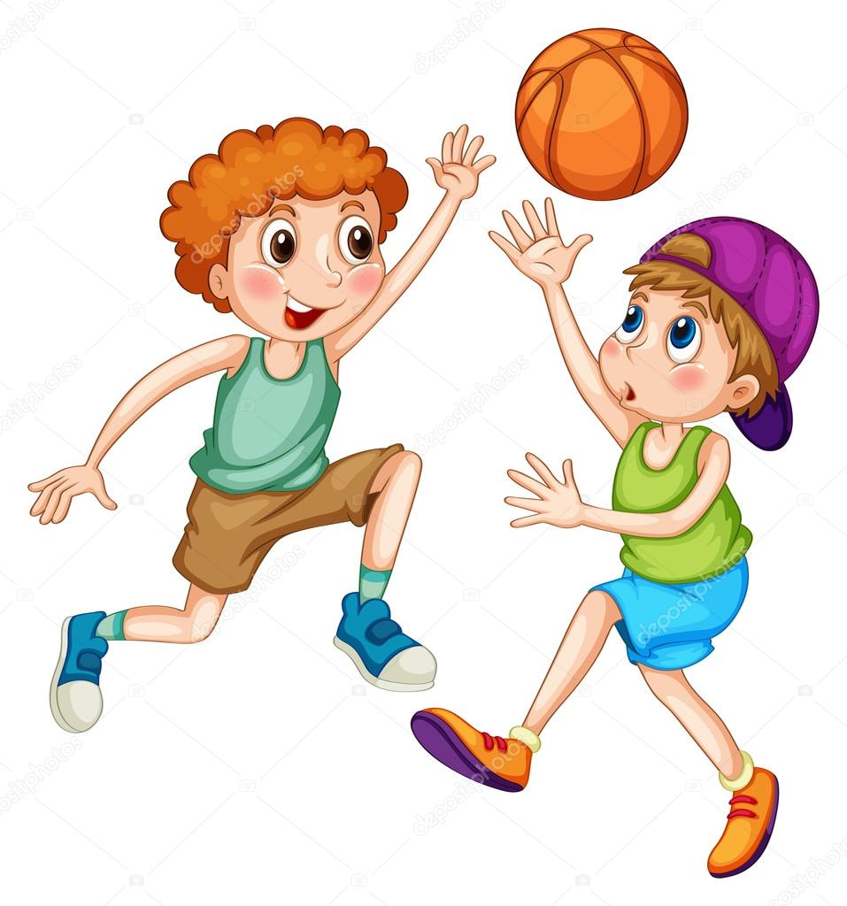 Due Ragazzi Giocare A Basket Vettoriali Stock Interactimages