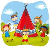 Děti si hrají Indiáni od teepee
