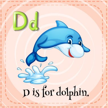 Flashcard letter D is for dolphin