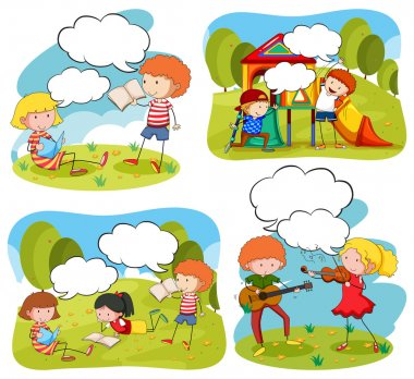 Four scenes of children doing activities in the park