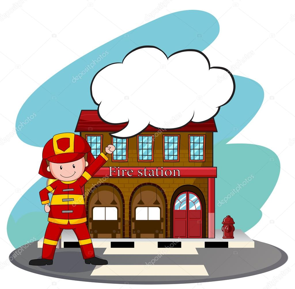 firemen working at the fire station stock vector interactimages rh depositphotos com fire station clip art free cliparts of fire station