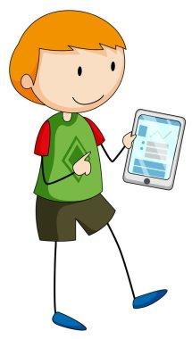 Boy holding a gadget