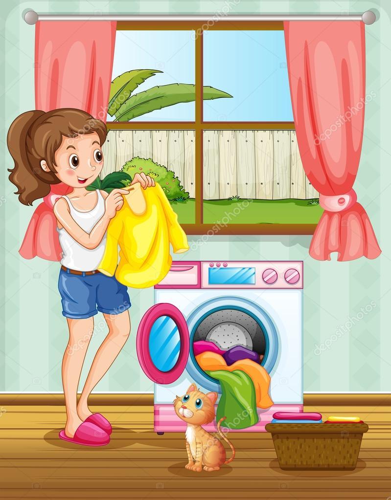 Mujer lavando la ropa en la casa vector de stock - Ropa para casa ...