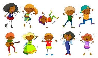 Set of kids singing and dancing