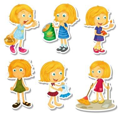 Blond girl doing different activities