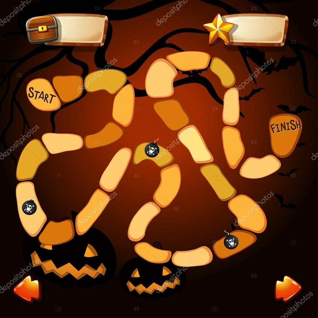 Spiel-Vorlage mit Halloween theme — Stockvektor © interactimages ...
