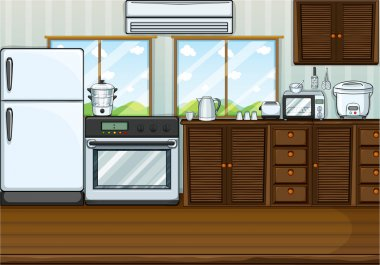 Kitchen full with furnitures and equipments