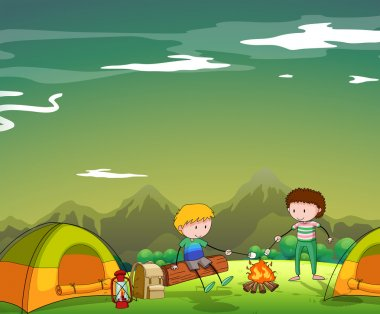 Two men camping out on the mountain