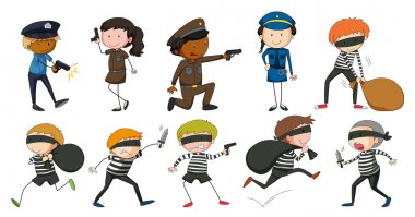 Policeman and robbers in different actions