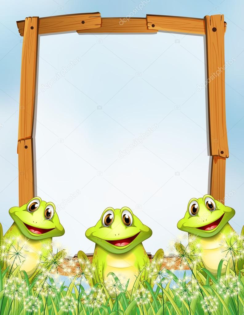 Marco de madera con fondo de ranas — Vector de stock ...