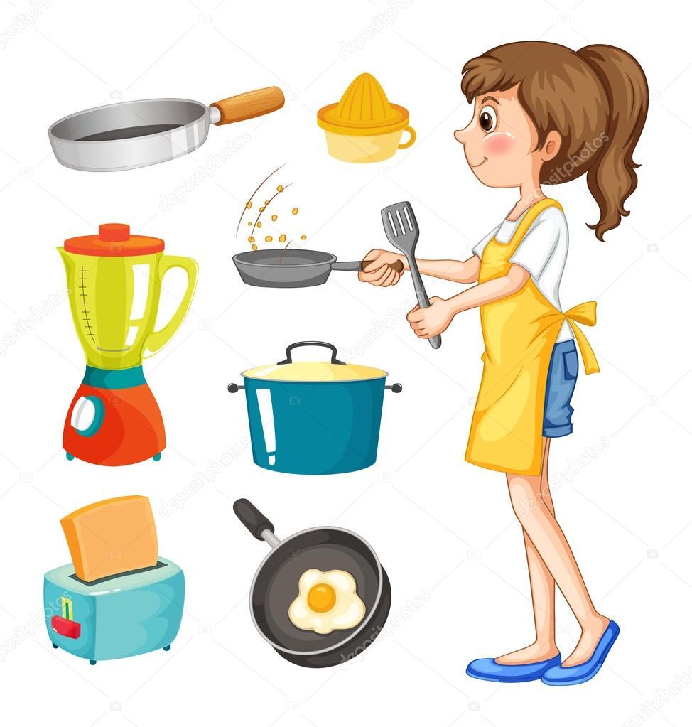 Donna che cucina e altri oggetti da cucina — Vettoriali Stock ...