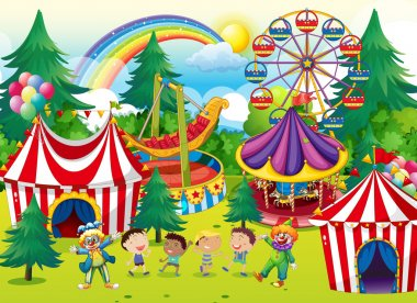 Children playing in the circus