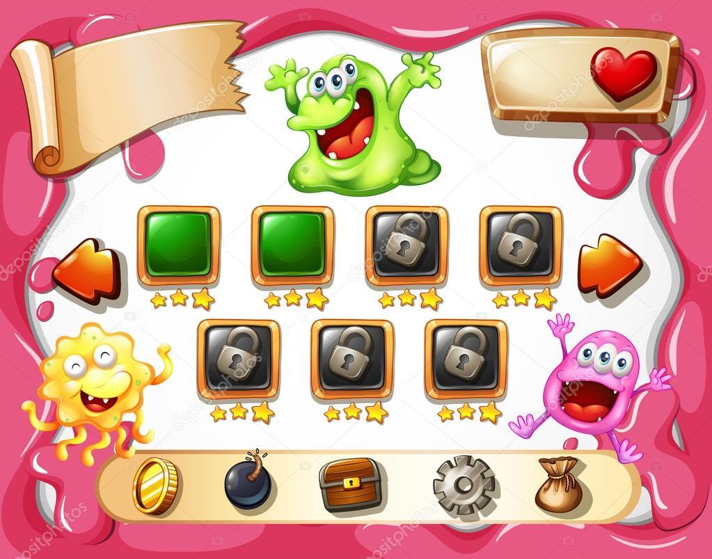 Spiel-Vorlage mit Monster-Thema — Stockvektor © interactimages #86218880