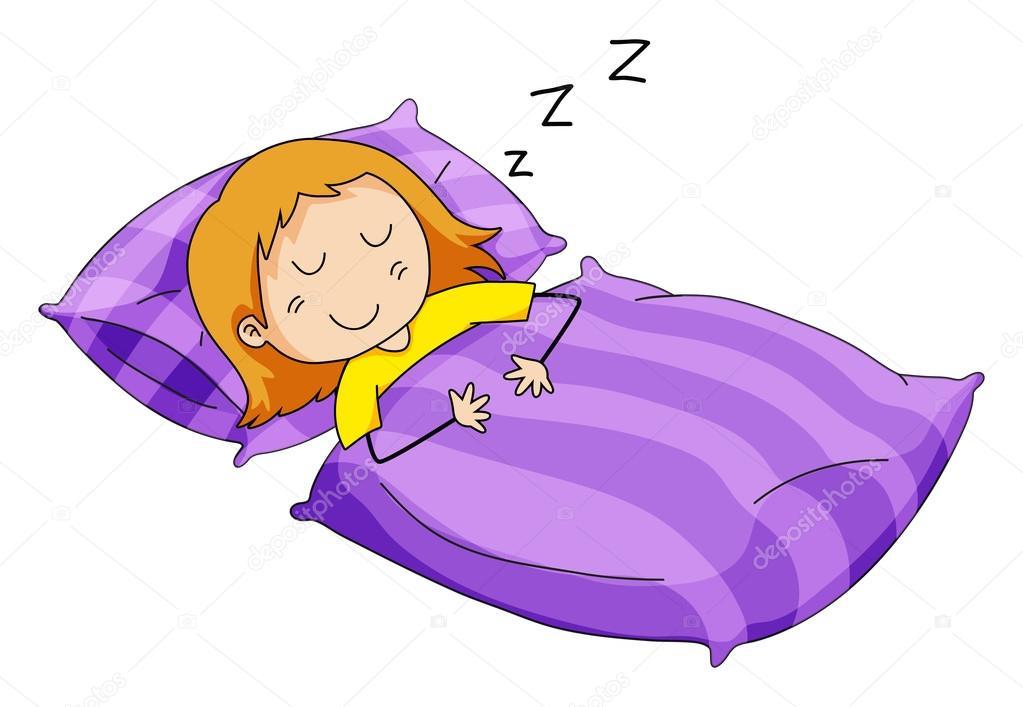 petite fille dormir dans son lit image vectorielle interactimages 86219652. Black Bedroom Furniture Sets. Home Design Ideas