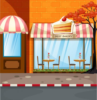 Bakery shop with tables and chairs outside