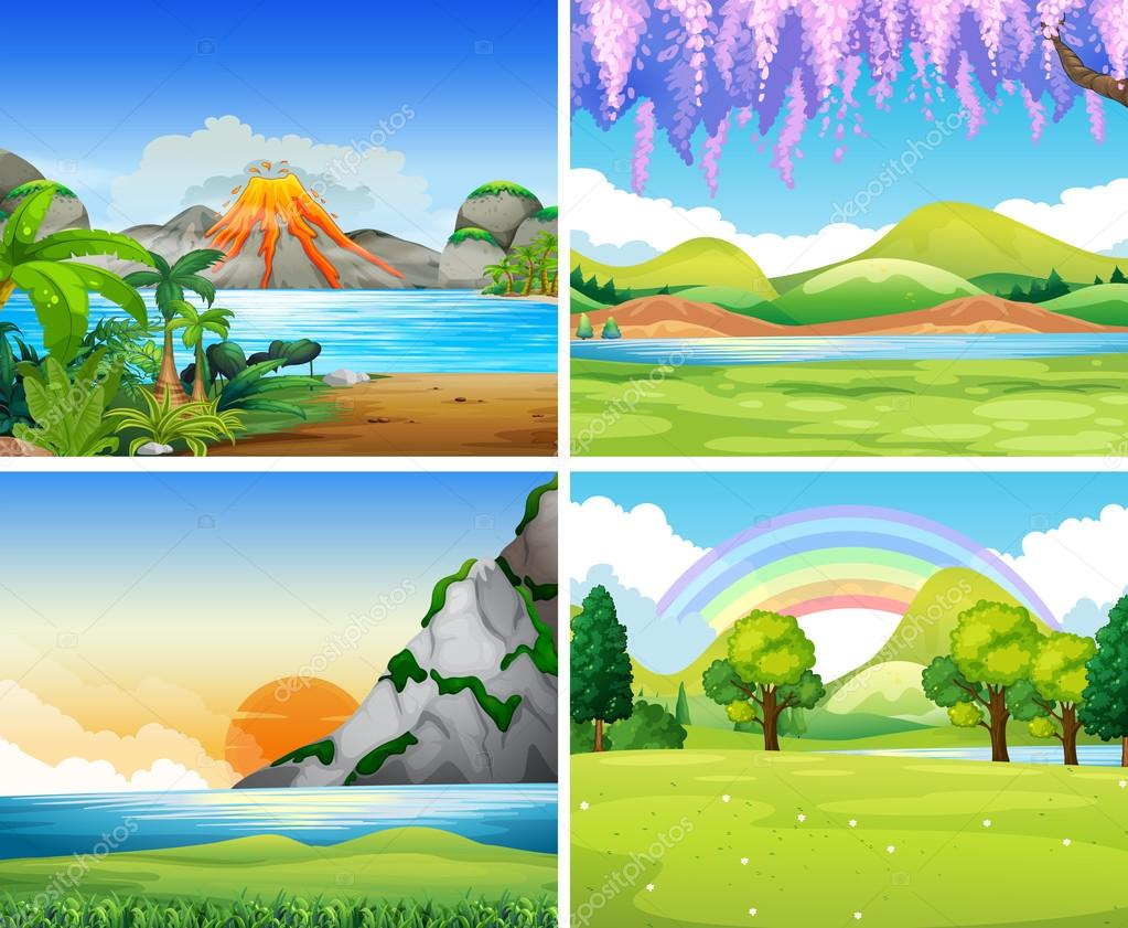 Four nature scenes with lake and park