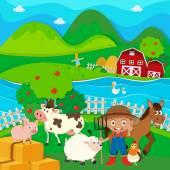 Farmář a hospodářských zvířat na farmě