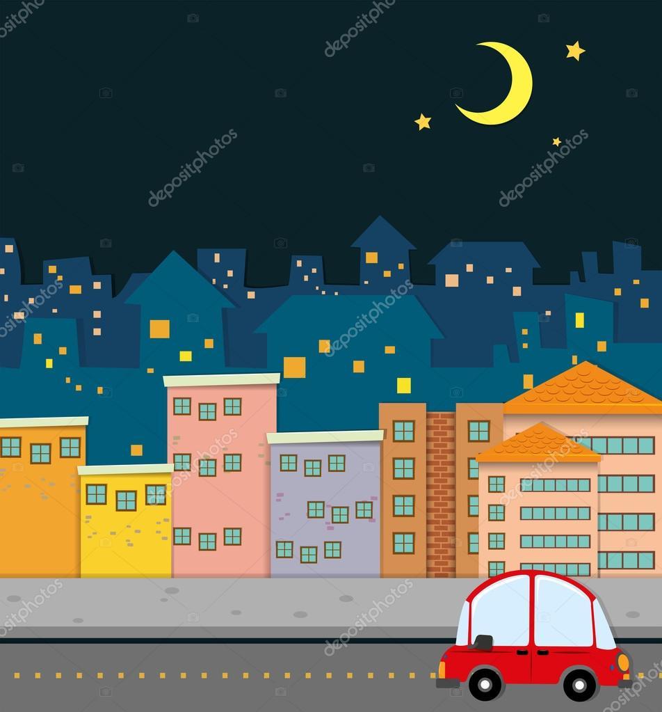 Neighborhood scene at night — Stock Vector