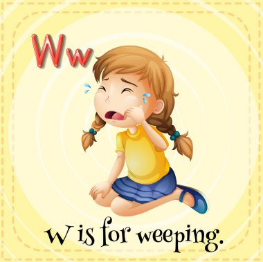 Flashcard letter W is for weeping