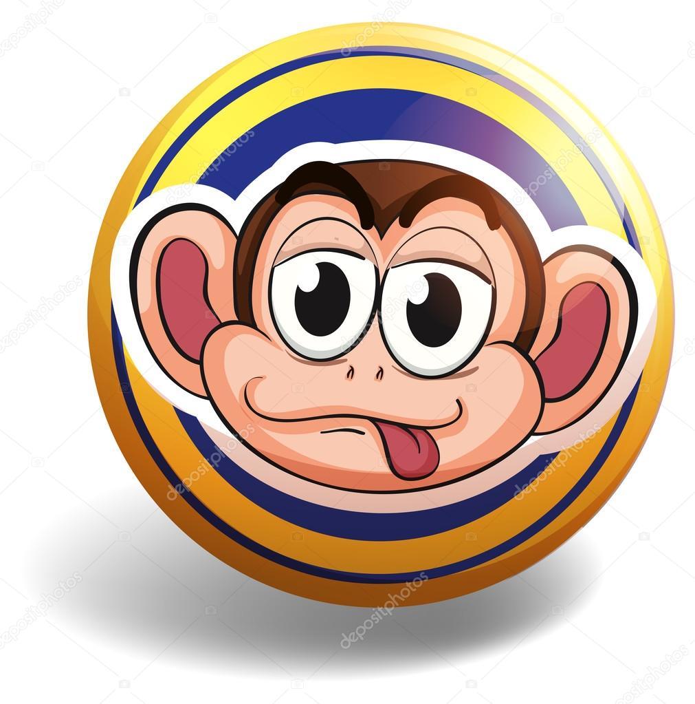 Affe-Gesicht auf Runde Plakette — Stockvektor © interactimages #87952548