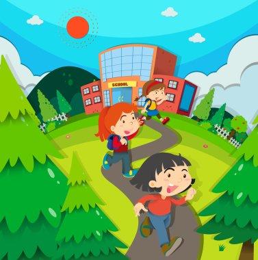 Children leaving school after classes