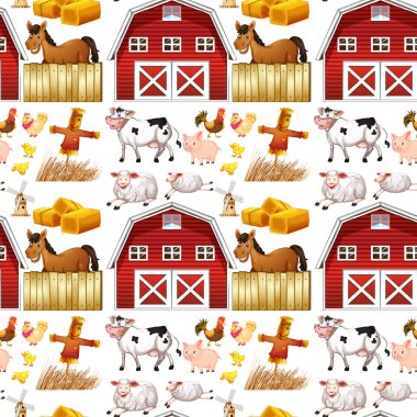 Seamless farm animals and red barn