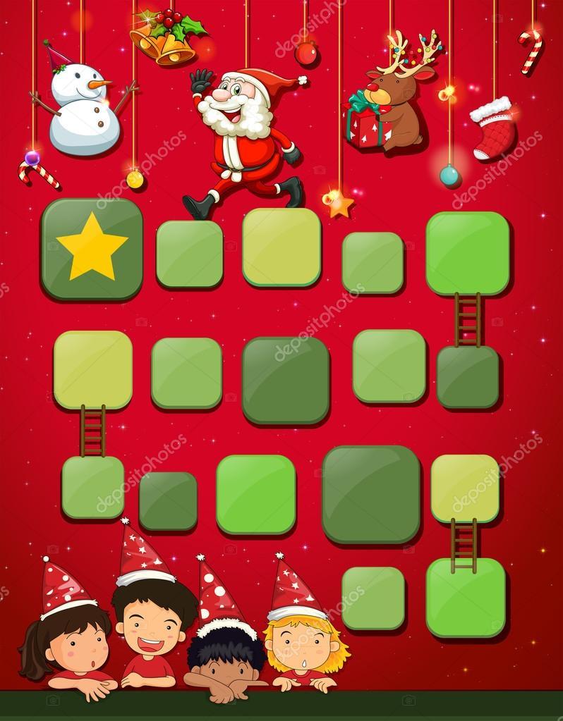 Spiel-Vorlage mit Kinder und Weihnachten — Stockvektor ...