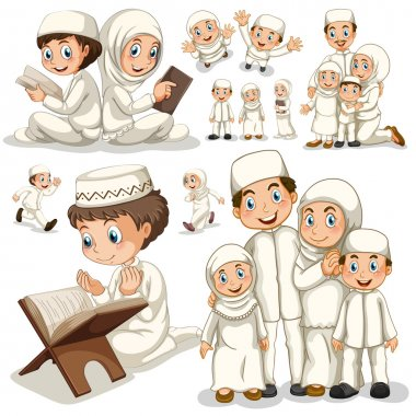 Muslim family in different actions