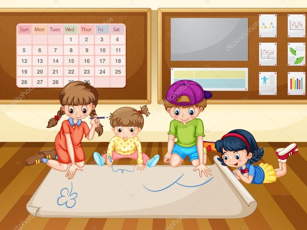Gyerekek rajz papír, tanterem — Stock Vector