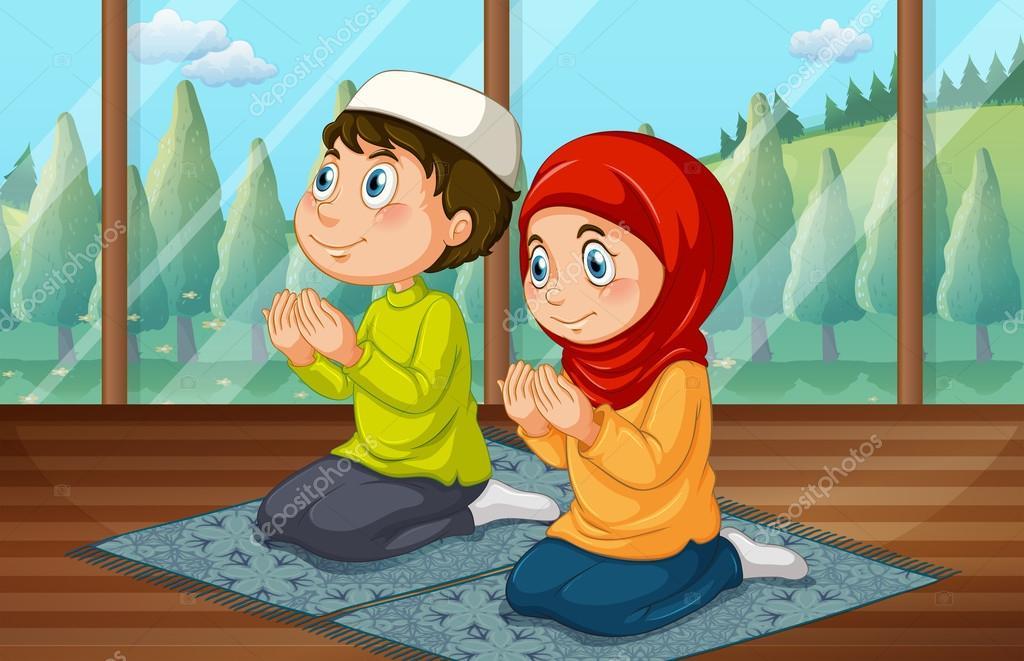 Islamitische jongen en meisje bidden in de kamer u stockvector