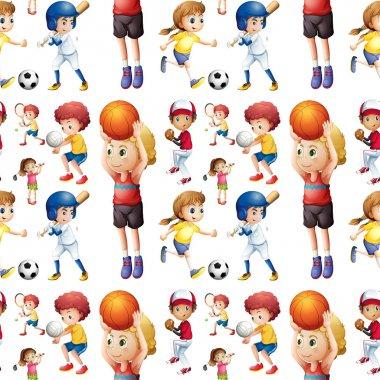 Seamless children playing sports