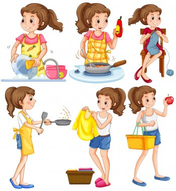 Housewife doing different chores
