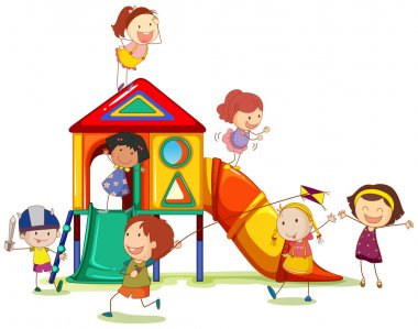Children playing around the playhouse