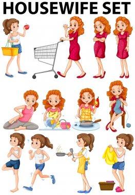 Housewife doing different activities