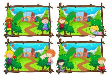 Four scenes of children going to school