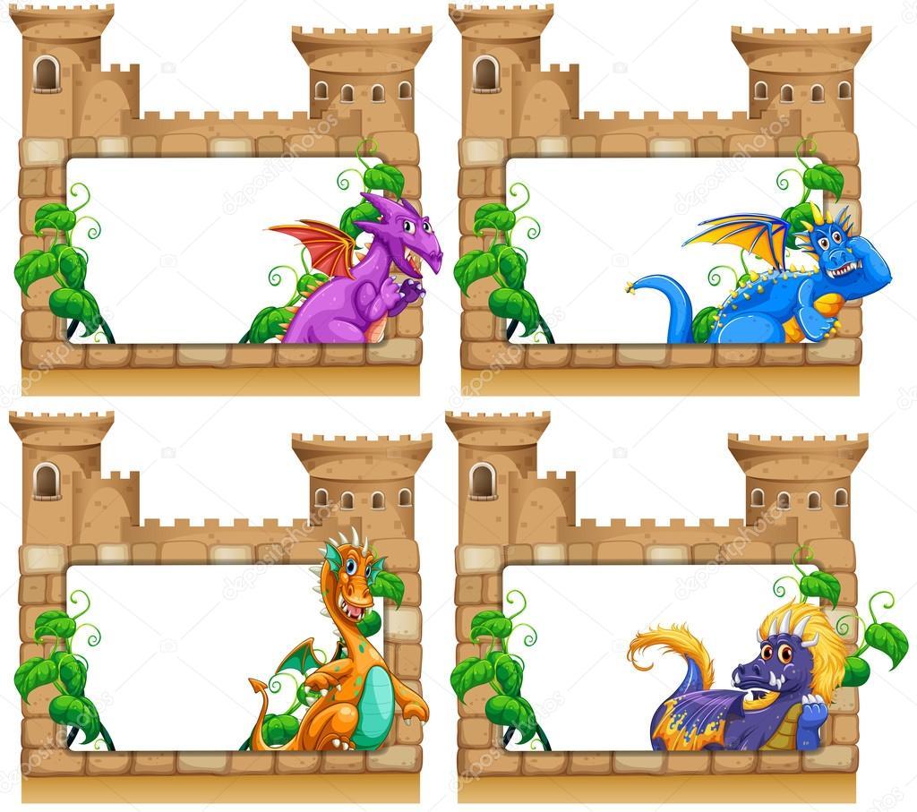 Diseño de marco con dragón y Castillo — Vector de stock ...