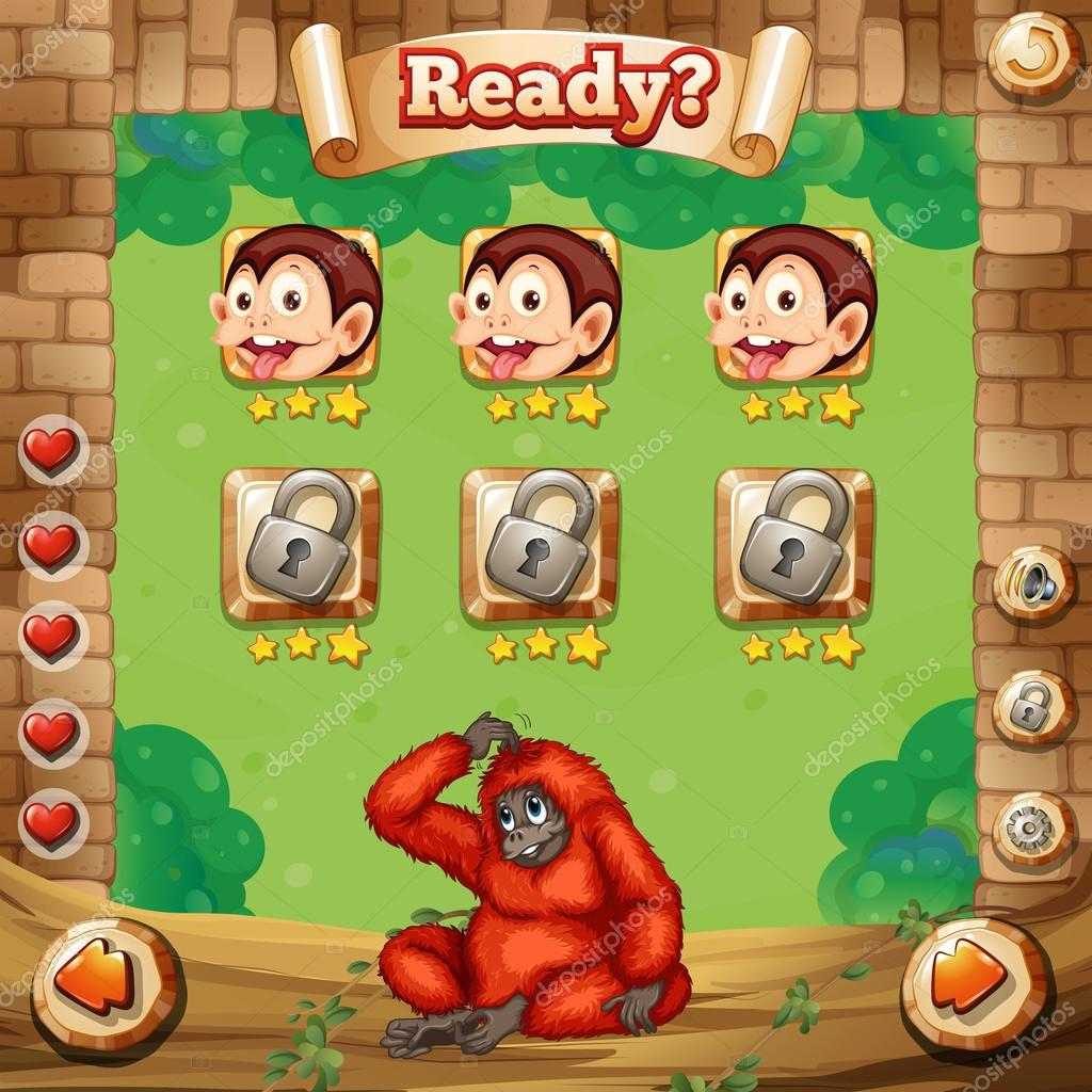 Spiel-Vorlage mit Affen-Hintergrund — Stockvektor © interactimages ...