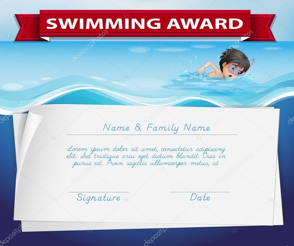 Template Of Certificate For Swimming Award Stock Vector