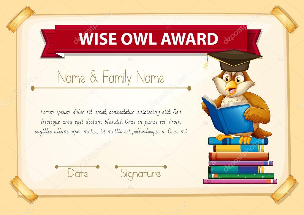Certificate Template With Owl Reading Books Stock Vector
