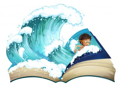 Giant book with boy swimming in the ocean