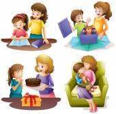 Fényképek Anya és gyermeke, eltérő tevékenységeket folytatva