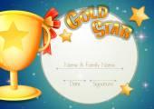 Šablona certifikátu s trofejí a hvězdy